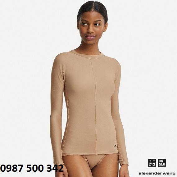 Áo giữ nhiệt nữ Uniqlo Alexander Wang chất vải vân tăm màu nâu 36 Brown