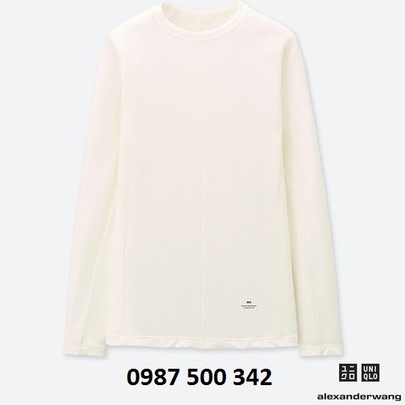 Áo giữ nhiệt nữ Uniqlo Alexander Wang chất vải vân tăm màu trắng 01 Off White