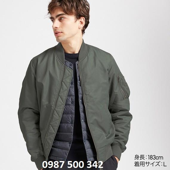 Áo khoác bomber Uniqlo 2019 màu xanh rêu 56 Olive mã 419963