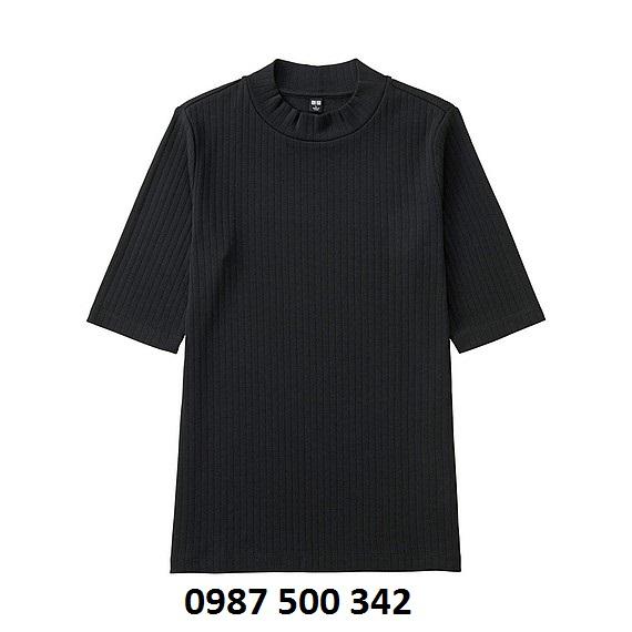 Áo len tăm tay lỡ Uniqlo màu đen 09 BLACK