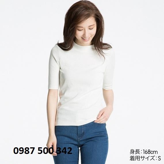 Áo len tăm tay lỡ Uniqlo màu trắng 01 OFF WHITE
