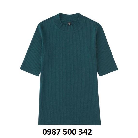 Áo len tăm tay lỡ Uniqlo màu xanh cổ vịt 58 DARK GREEN