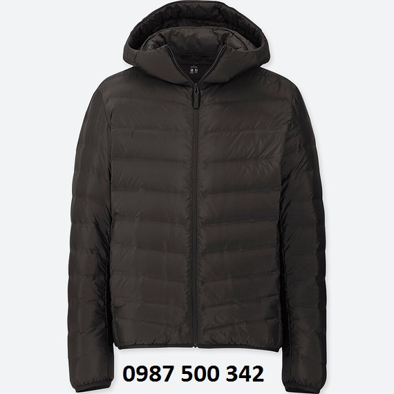 Áo lông vũ nam có mũ Uniqlo Ultra Light Down màu đen 09 BLACK loại vải ép nhiệt