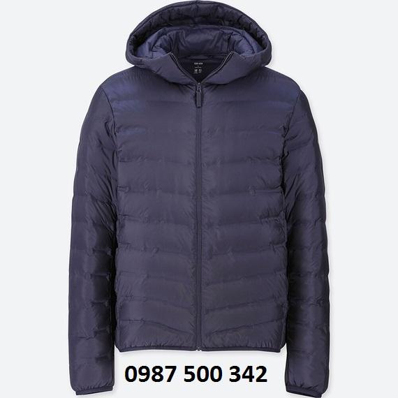 Áo lông vũ nam có mũ Uniqlo Ultra Light Down màu xanh đen 69 NAVY loại vải ép nhiệt