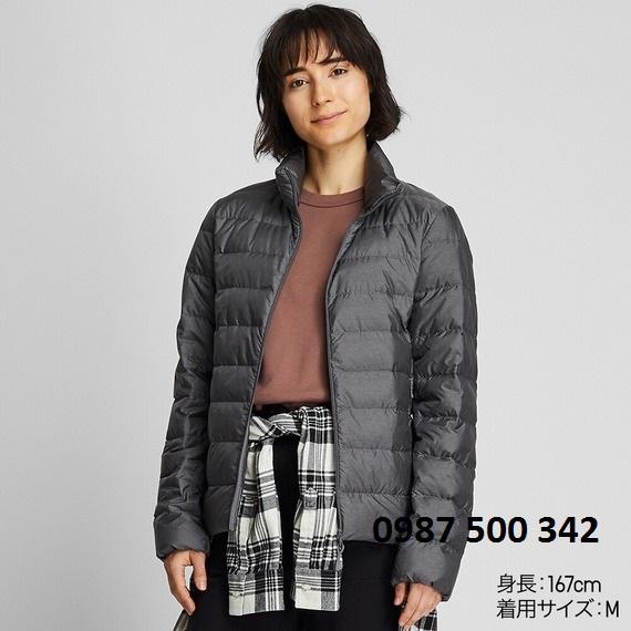 Áo lông vũ nữ không mũ Uniqlo Ultra Light Down 2019 - 2020 màu xám đậm 07 GRAY