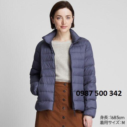 Áo lông vũ nữ không mũ Uniqlo Ultra Light Down 2019 - 2020 màu xanh biển 66 BLUE