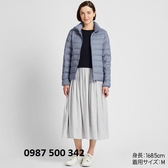 Áo lông vũ nữ không mũ Uniqlo Ultra Light Down 2019 - 2020 màu xanh biển nhạt 63 Blue