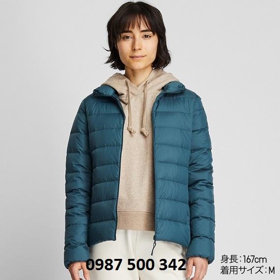 Áo lông vũ nữ không mũ Uniqlo Ultra Light Down 2019 - 2020 màu xanh cổ vịt 57 Olive