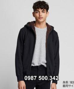Áo nỉ lót lông cừu nam Uniqlo 2019 - 2020 mã 418708 màu đen 09 BLACK