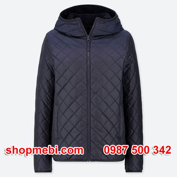 Áo khoác trần trám lót lông cừu Uniqlo 2019 - 2020 mã 420213 màu xanh đen 69 NAVY