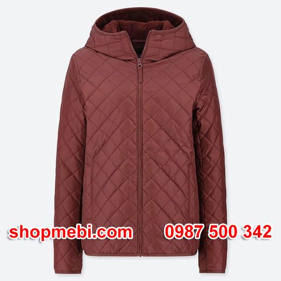 Áo khoác trần trám lót lông cừu Uniqlo 2019 - 2020 mã 420213 màu rượu vang 18 WINE