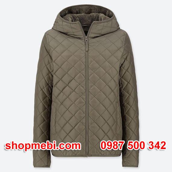 Áo khoác trần trám lót lông cừu Uniqlo 2019 - 2020 mã 420213 màu xanh rêu 56 OLIVE