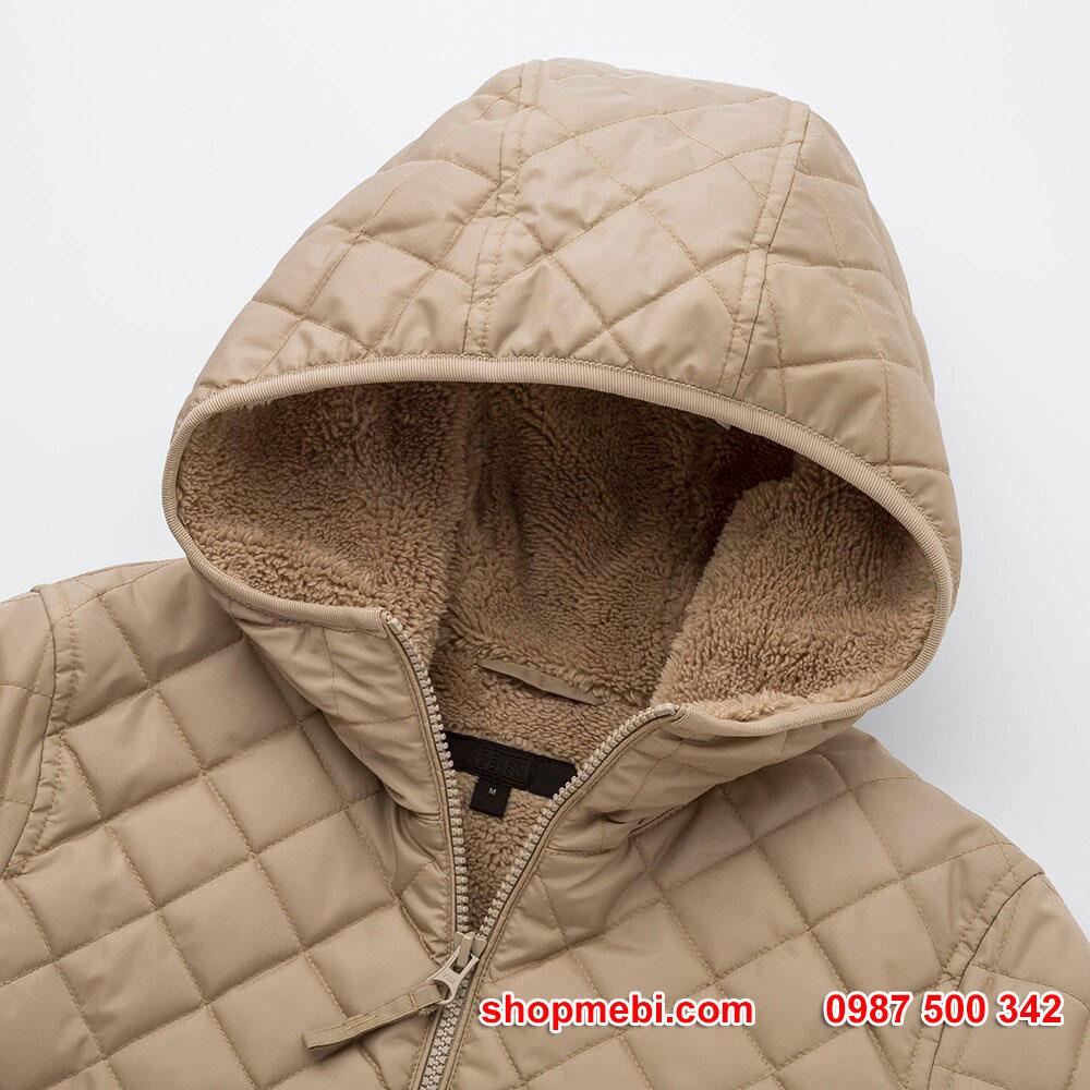 Cổ và Mũ Áo khoác trần trám lót lông cừu Uniqlo 2019 - 2020 mã 420213