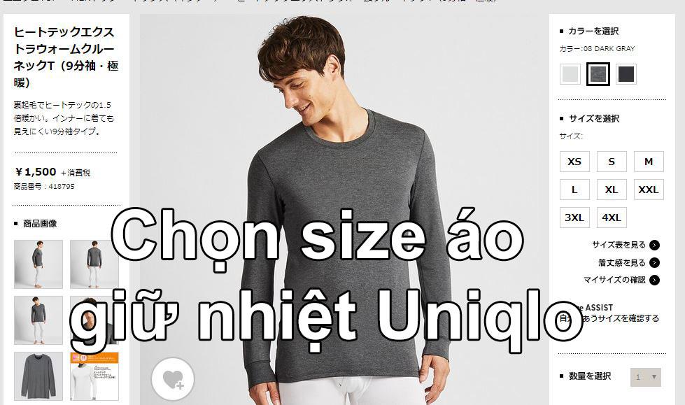 Chọn size áo giữ nhiệt nam Uniqlo
