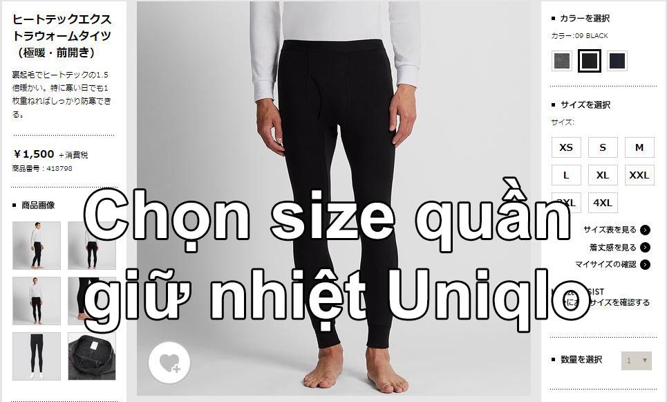 Chọn size quần giữ nhiệt nam Uniqlo