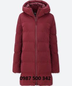 Áo lông vũ nữ đại hàn dáng lỡ Uniqlo Nhật Bản màu đỏ mận 17 RED 409124