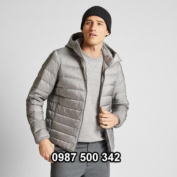 Áo lông vũ nam có mũ Uniqlo 2019 - 2020 mã 420314 màu xám 03 GRAY