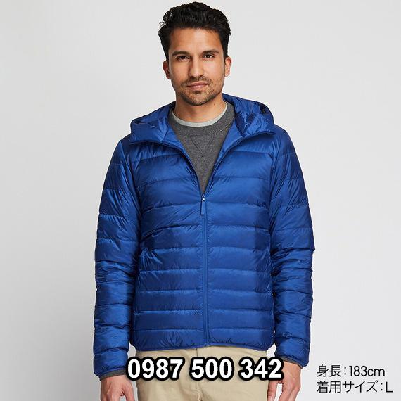 Áo lông vũ nam có mũ Uniqlo 2019 - 2020 mã 420314 màu xanh coban 66 BLUE
