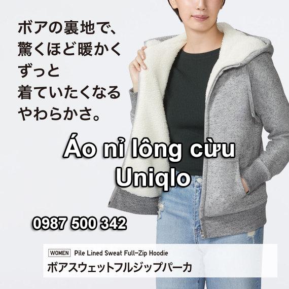 Áo khoác nỉ lót lông cừu nữ Uniqlo 2019 - 2020 hàng chính hãng
