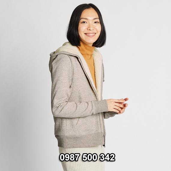 Áo khoác nỉ lót lông cừu nữ Uniqlo 2019 - 2020 mã 418238 màu be 31 BEIGE