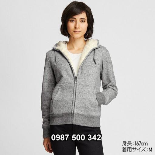 Áo khoác nỉ lót lông cừu nữ Uniqlo 2019 - 2020 mã 418238 màu xám 06 GRAY