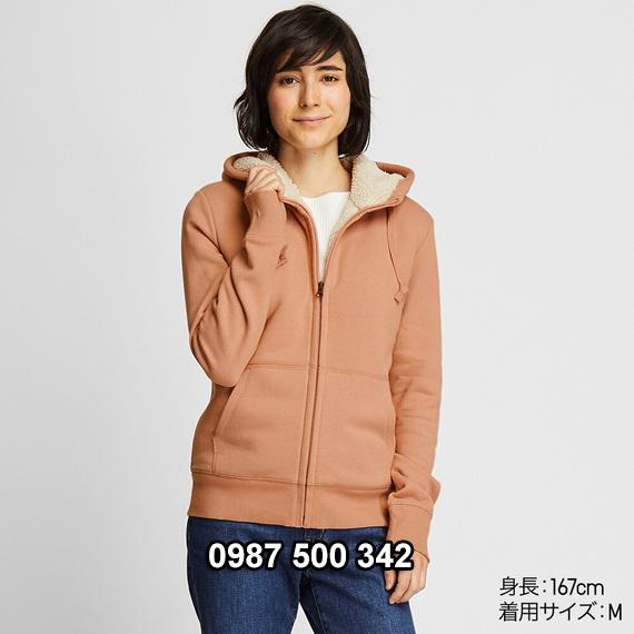 Áo khoác nỉ lót lông cừu nữ Uniqlo 2019 - 2020 mã 418238 màu hồng nude 11 PINK