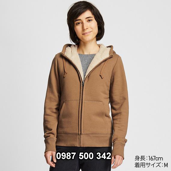 Áo khoác nỉ lót lông cừu nữ Uniqlo 2019 - 2020 mã 418238 màu nâu 34 BROWN