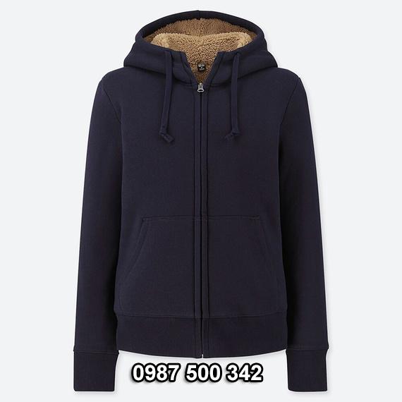 Áo khoác nỉ lót lông cừu nữ Uniqlo 2019 - 2020 mã 418238 màu xanh đen 69 NAVY