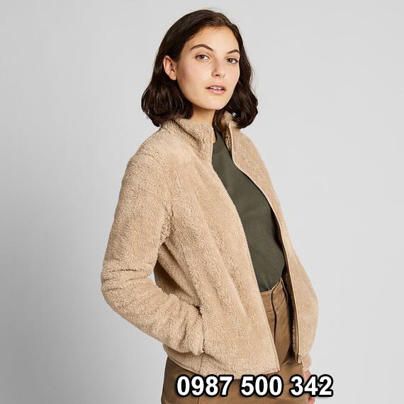 Áo lông cừu 2 mặt Uniqlo nữ 2019 mã 418242 màu be 30 NATURAL