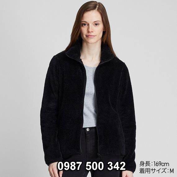 Áo lông cừu 2 mặt Uniqlo nữ 2019 mã 418242 màu đen 09 BLACK