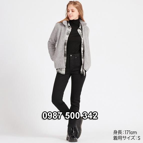 Áo lông cừu 2 mặt Uniqlo nữ 2019 mã 418242 màu ghi 03 GRAY