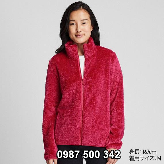 Áo lông cừu 2 mặt Uniqlo nữ 2019 mã 418242 màu hồng đậm 12 PINK