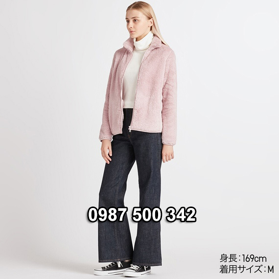 Áo lông cừu 2 mặt Uniqlo nữ 2019 mã 418242 màu hồng nhạt 10 PINK