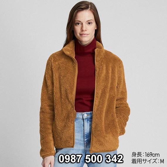 Áo lông cừu 2 mặt Uniqlo nữ 2019 mã 418242 màu nâu da bò 35 BROWN