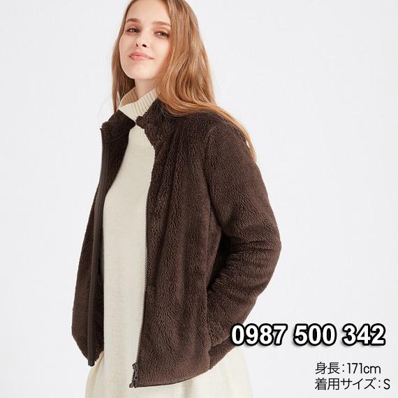 Áo lông cừu 2 mặt Uniqlo nữ 2019 mã 418242 màu nâu đậm 37 BROWN
