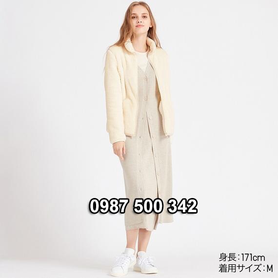 Áo lông cừu 2 mặt Uniqlo nữ 2019 mã 418242 màu trắng sữa 01 OFF WHITE