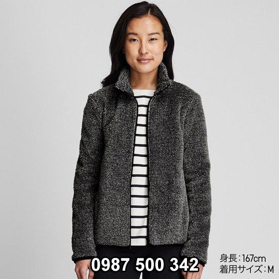 Áo lông cừu 2 mặt Uniqlo nữ 2019 mã 418242 màu xám đậm 08 DARK GREEN