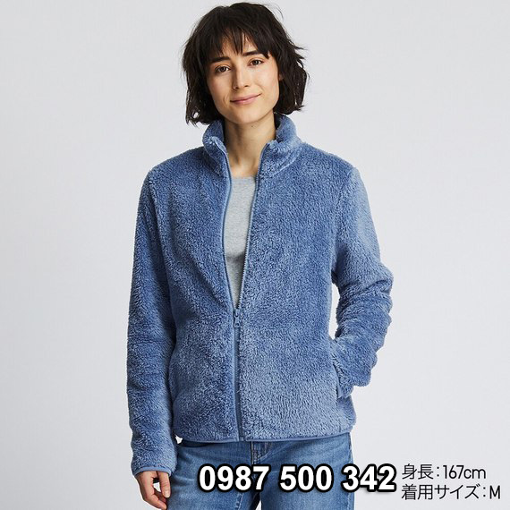 Áo lông cừu 2 mặt Uniqlo nữ 2019 mã 418242 màu xanh biển 63 BLUE