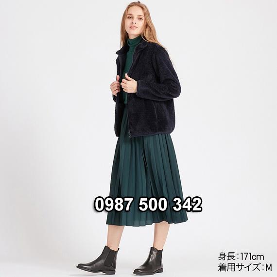 Áo lông cừu 2 mặt Uniqlo nữ 2019 mã 418242 màu xanh đen 69 NAVY