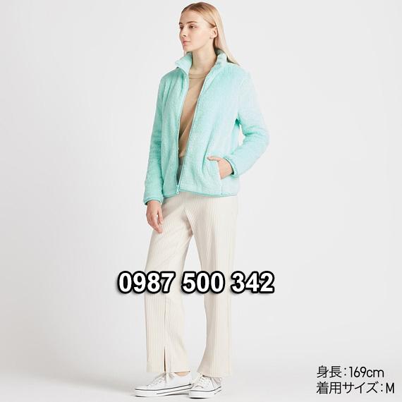 Áo lông cừu 2 mặt Uniqlo nữ 2019 mã 418242 màu xanh ngọc 52 GREEN