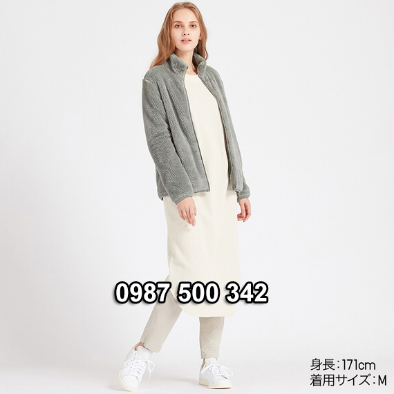 Áo lông cừu 2 mặt Uniqlo nữ 2019 mã 418242 màu xanh rêu 53 GREEN