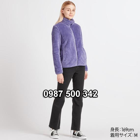 Áo lông cừu 2 mặt Uniqlo nữ 2019 mã 418242 màu xanh tím 76 PURPLE