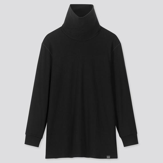 Áo giữ nhiệt nam cổ lọ Heattech Ultra Warm Uniqlo, áo vải dày bên trong lót nỉ, áo màu đen 09 BLACK