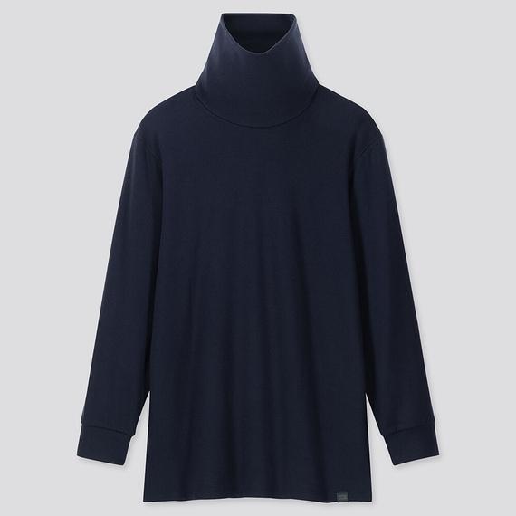 Áo giữ nhiệt nam cổ lọ Heattech Ultra Warm Uniqlo, áo vải dày bên trong lót nỉ, áo màu xanh đen 69 NAVY