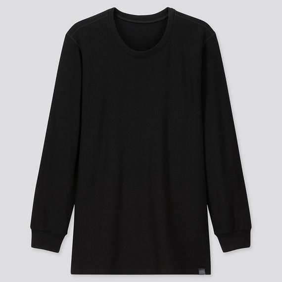 Ảnh áo giữ nhiệt nam cổ tròn Heattech Ultra Warm Uniqlo màu đen 09 BLACK