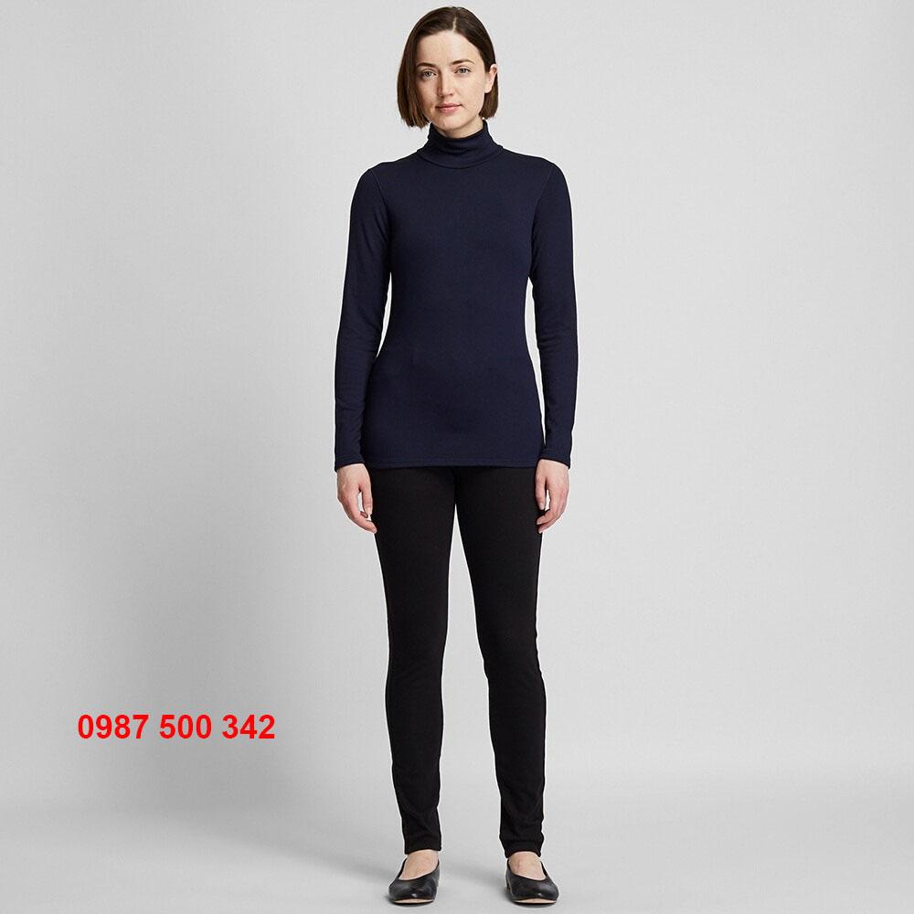 Áo giữ nhiệt nữ cổ lọ 3 phần Heattech Ultra Warm Uniqlo màu xanh đen 69 NAVY