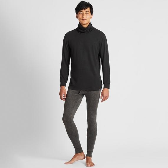 Mặt trước áo giữ nhiệt nam cổ lọ Heattech Ultra Warm Uniqlo