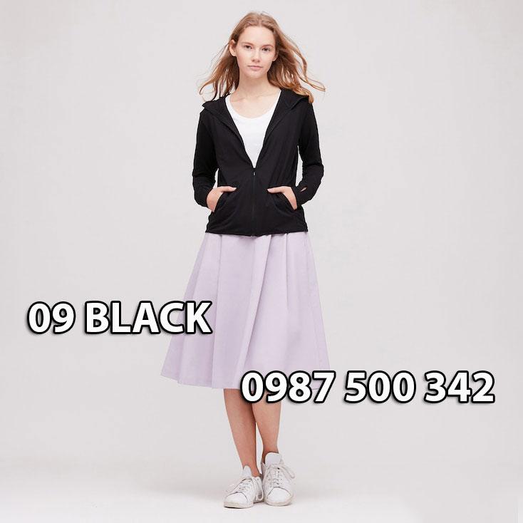 Áo chống nắng Nhật Bản Uniqlo 2020 mã 422807 màu đên 09 BLACK