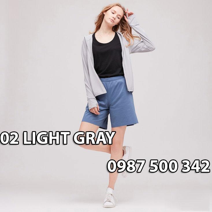 Áo chống nắng Nhật Bản Uniqlo 2020 mã 422807 màu ghi sáng 02 LIGHT GRAY