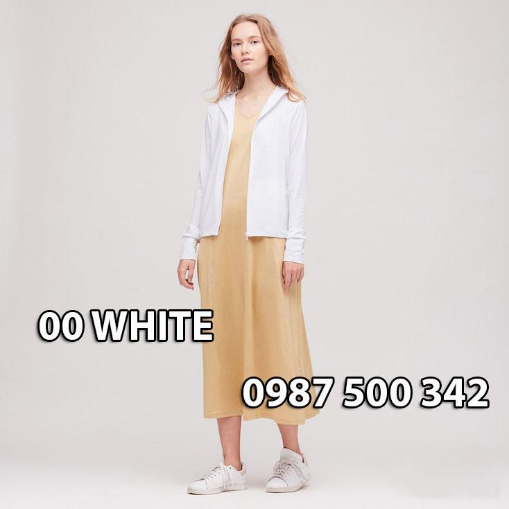 Áo chống nắng Nhật Bản Uniqlo 2020 mã 422807 màu trắng 00 WHITE